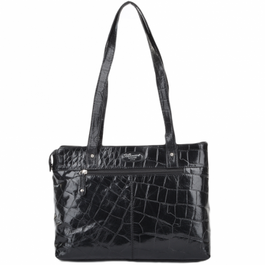 Womens Medium Leather Crocodile Print Shoulder Bag With Midsection Purse Pocket Blk/croc: 52234