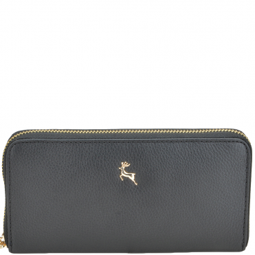 Women's Medium Leather Purse Black : Ash-01