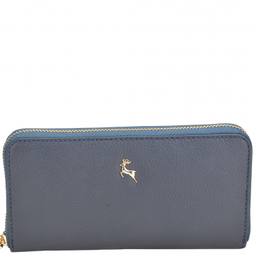 Women's Medium Leather Purse Deep Blue : Ash-01