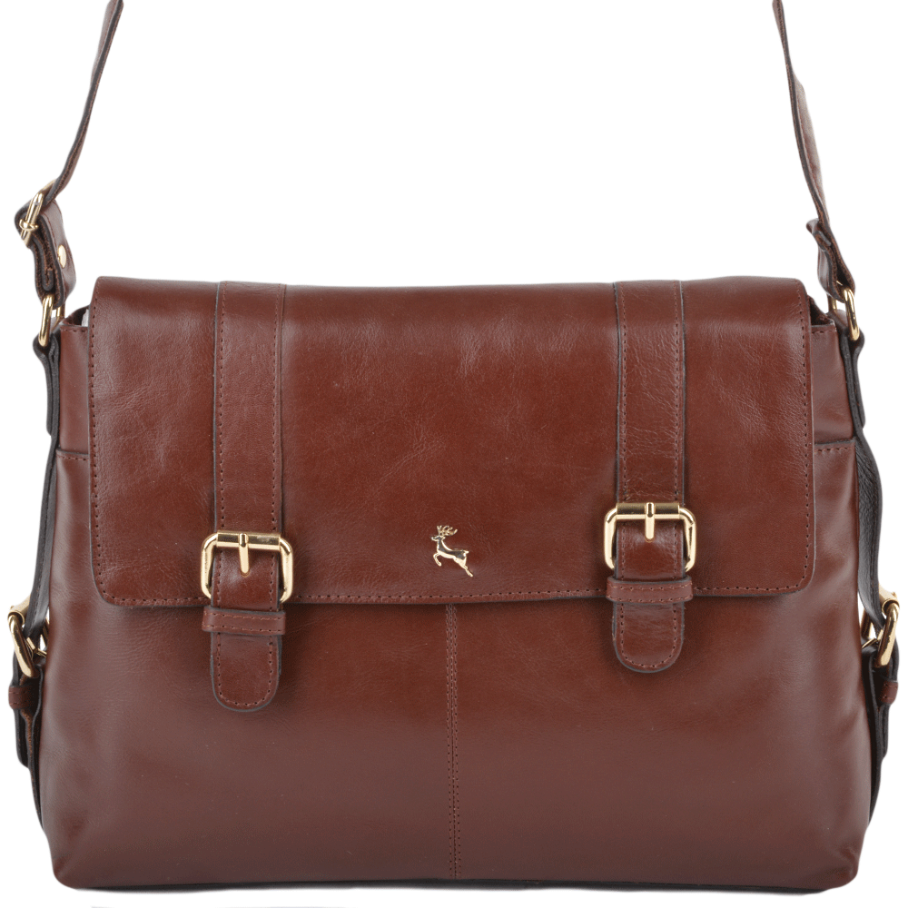 afcc01a1d ASHWOOD Medium Leather Satchel Workbag - ELA 953 - Chestnut/vt