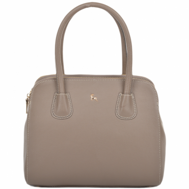 Womens Medium Leather Top Handle Lady Bag Mushroom : 61540