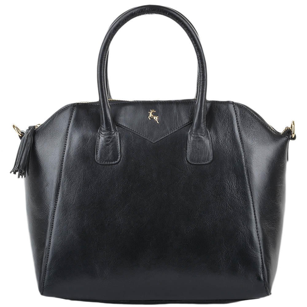 Womens Medium Veg Tanned Leather Tote Bag Black Vt Si 1114