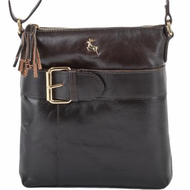06731b23de118 Ashwood Womens Mini Leather Across Zip Top Body Bag Brown/vt : ELA 1262