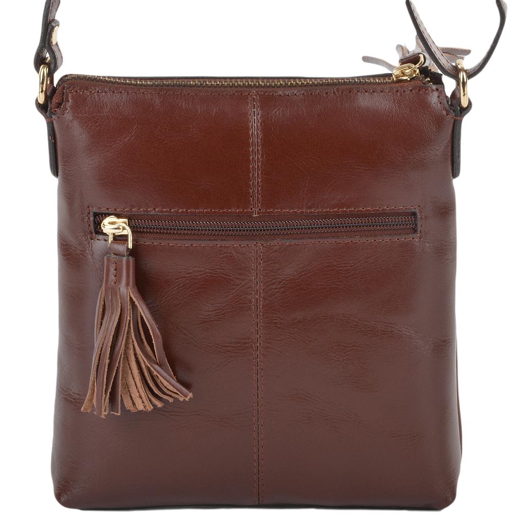 Womens Mini Leather Across Zip Top Body Bag Chestnut Vt