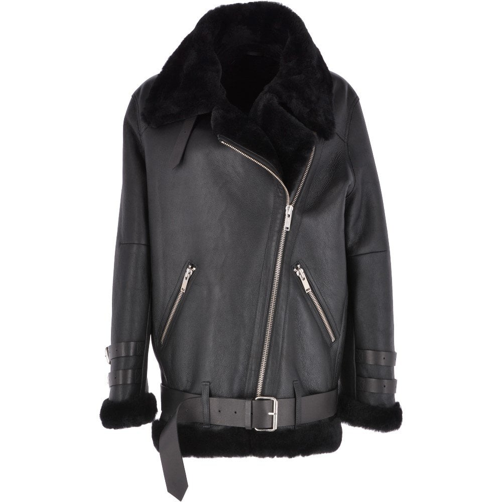 ce029d113 Womens Oversized Sheepskin Flying Jacket Black : Khloe