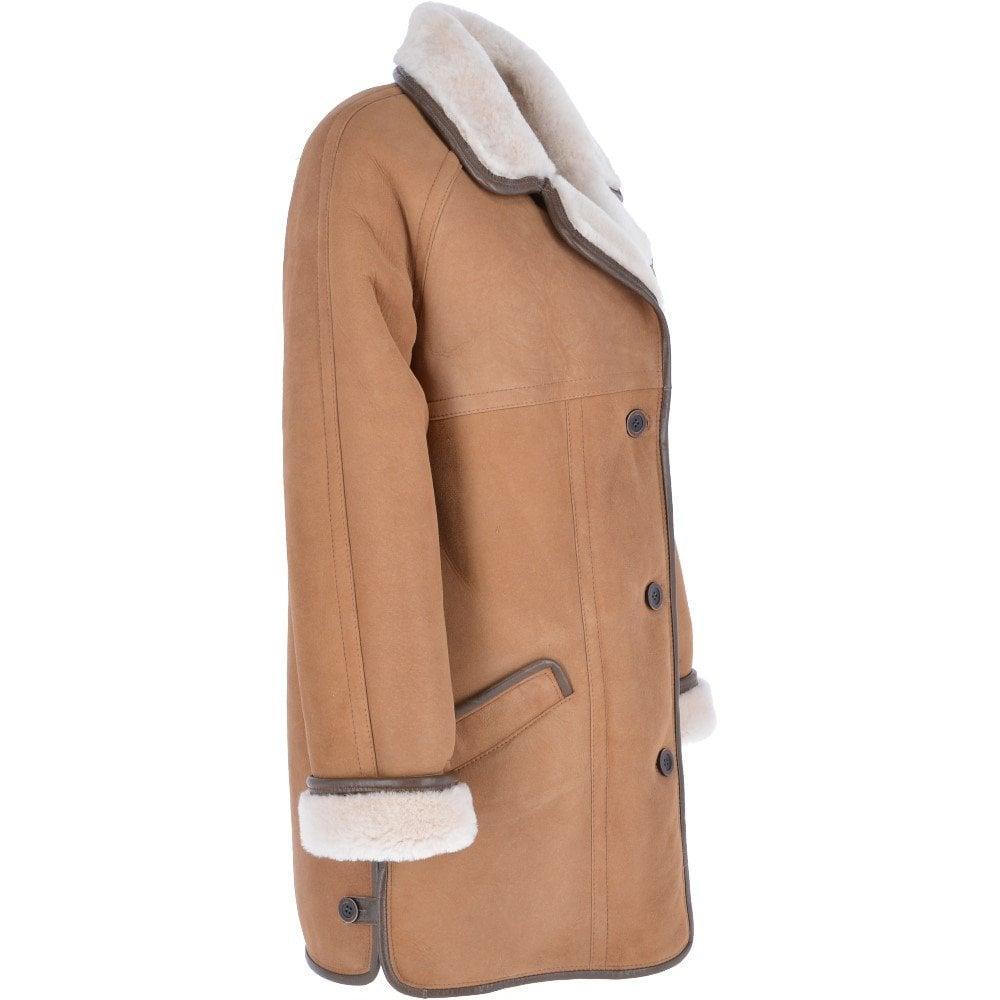 Womens Sheepskin Coat Tan : Florence