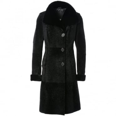 Womens Sheepskin Coat Black : Kb-507