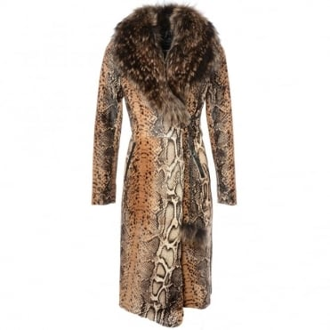 Womens Sheepskin Coat Python Print : Kb-549