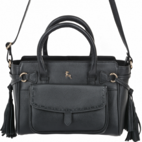 Womens Small Leather Bag With Purse Pocket Black : 61511