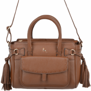 Womens Small Leather Bag With Purse Pocket Tan : 61511
