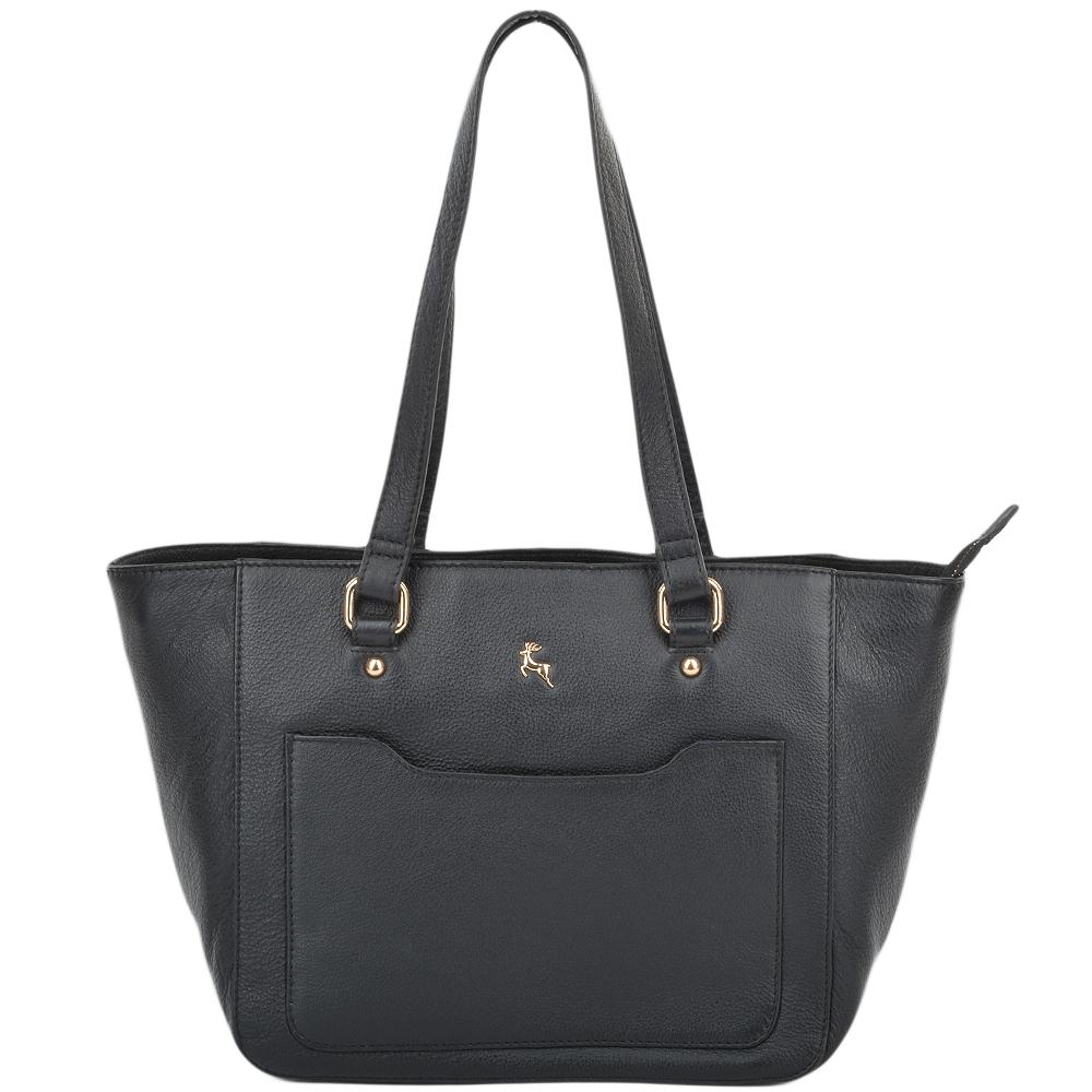Womens Small Leather City Shopper Bag Black 61513