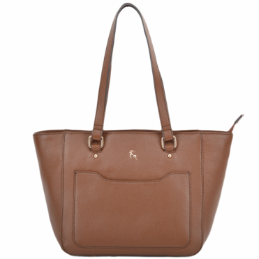 Womens Small Leather City Shopper Bag Tan : 61513