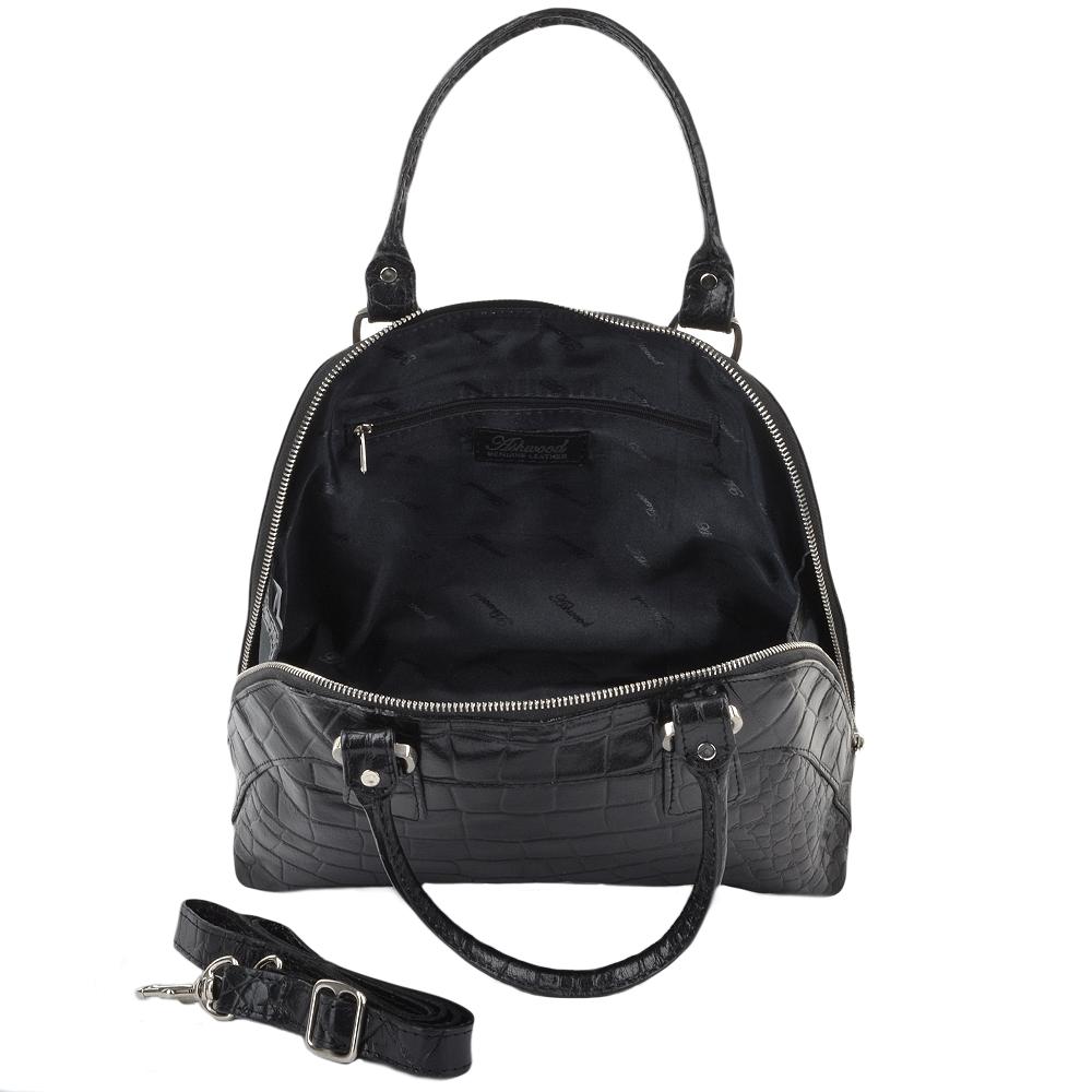 Womens Small Leather Crocodile Print Handbag Blk/croc ...