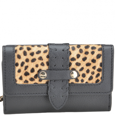 Women's Small Leather Purse Black/ Leopard : SLG-30643