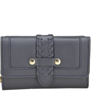 Women's Small Leather Purse Deep Blue : SLG-30643