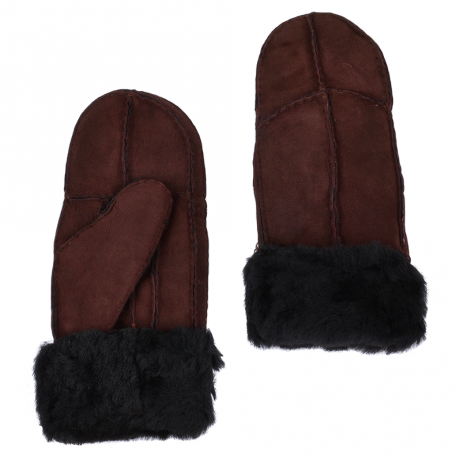 Ashwood Womens Suede Leather Sheepskin Mittens Aubergine : N-Mittens