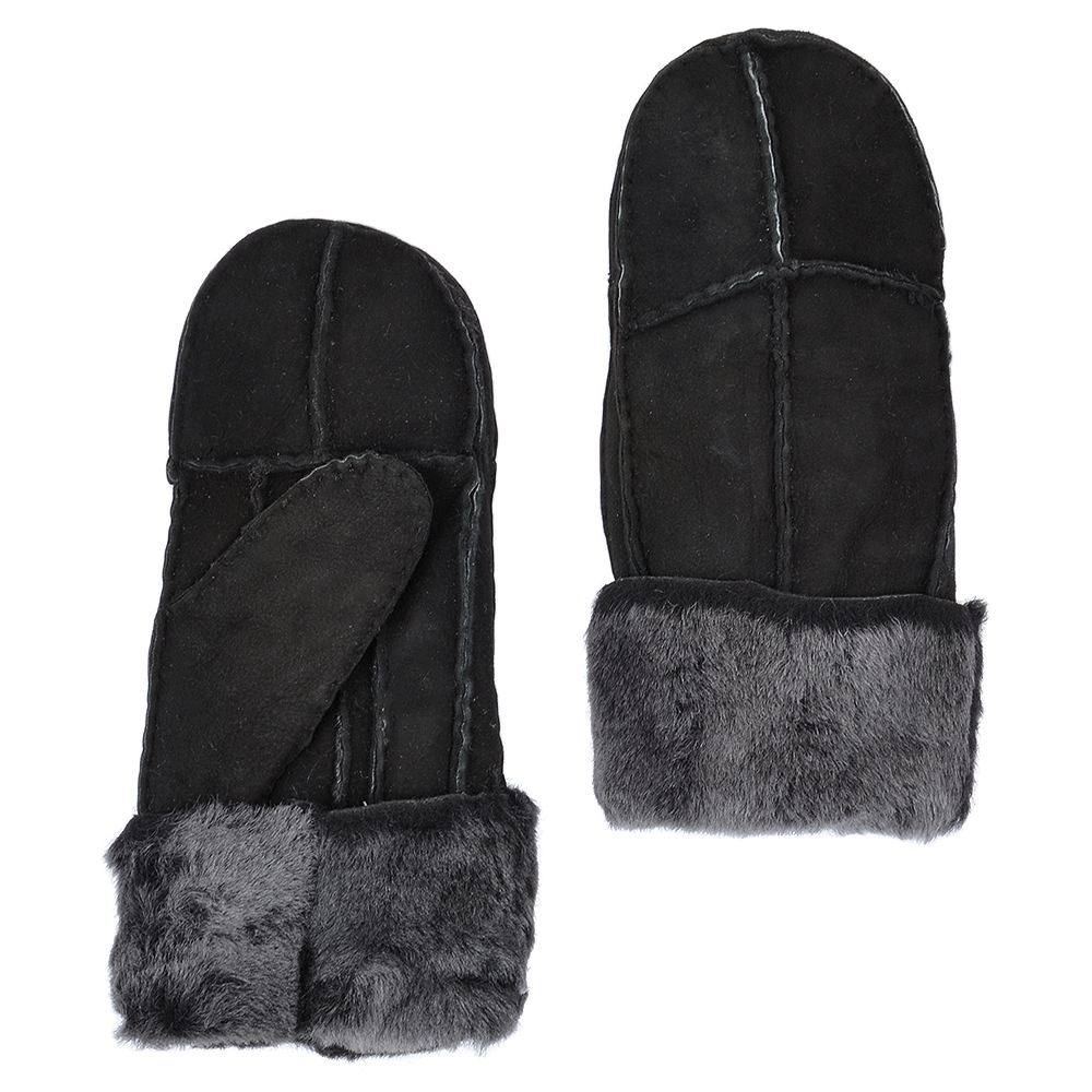 Suede Leather Sheepskin Mittens Black Brissa N Mittens