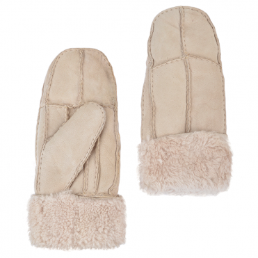 Womens Suede Leather Sheepskin Mittens Stone : N-Mittens