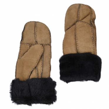 Womens Suede Leather Sheepskin Mittens Tan/blk : N-Mittens