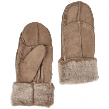Womens Suede Leather Sheepskin Mittens Tan : N-Mittens