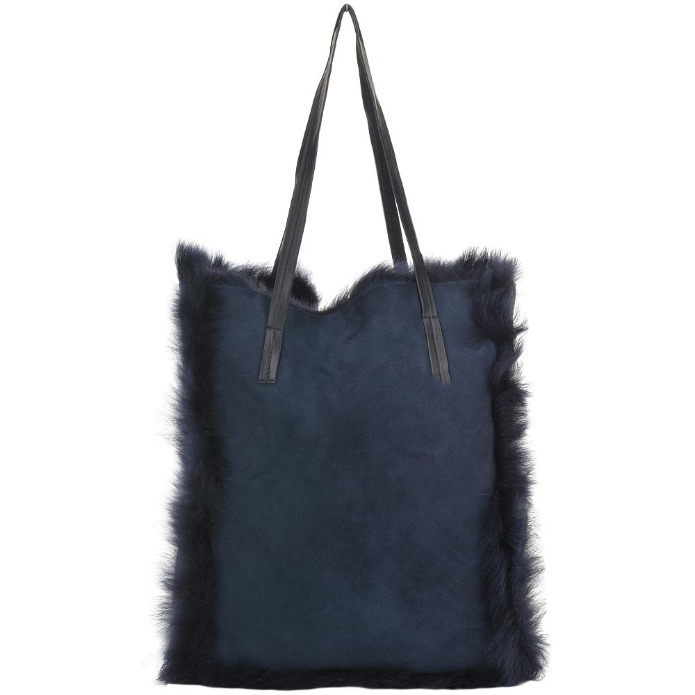 fc0be2e851d2 Womens Toscana Sheepskin Leather Bag Navy brissa   Avian