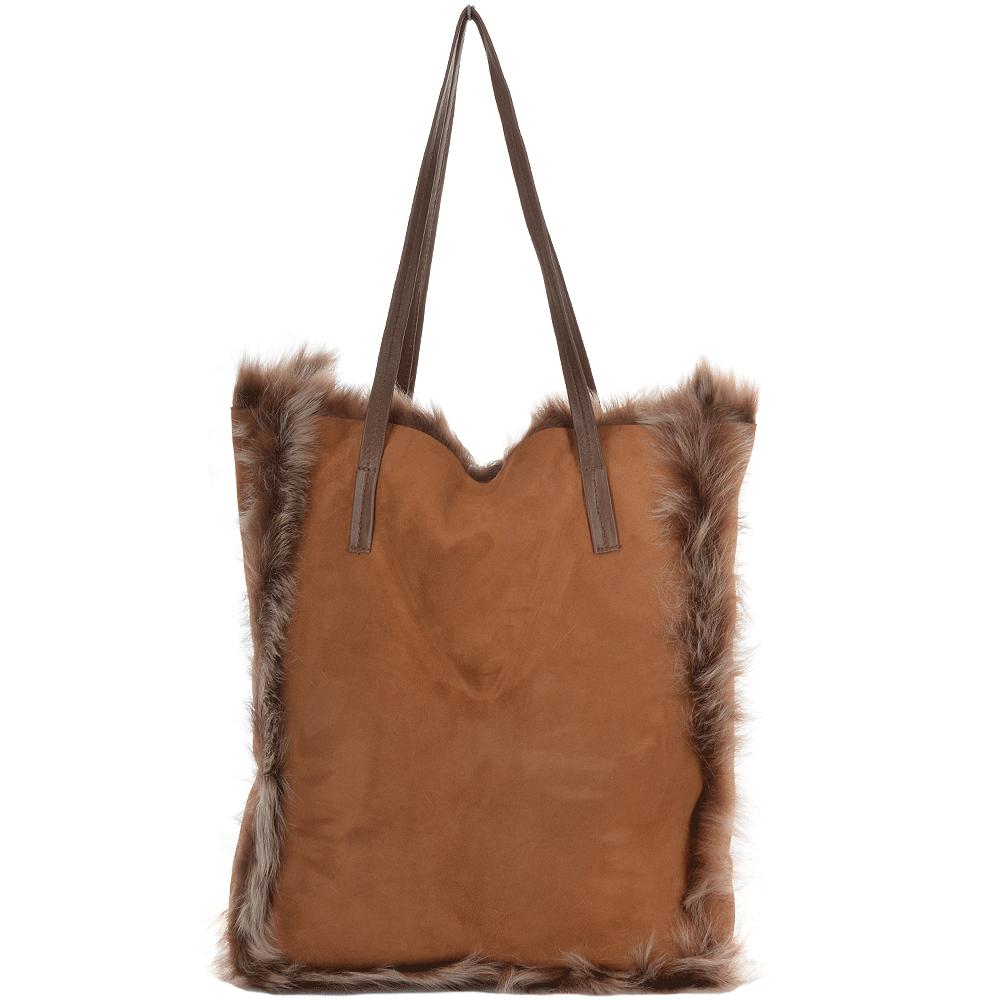 Womens Toscana Sheepskin Leather Bag Whisky Brissa Avian