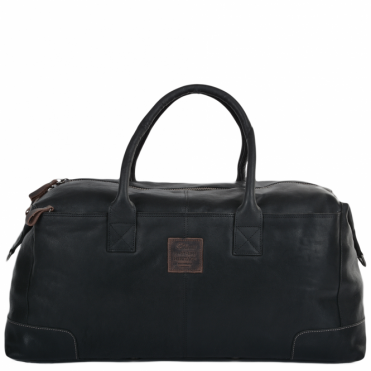XLarge Leather Travel Holdall Black : 4556