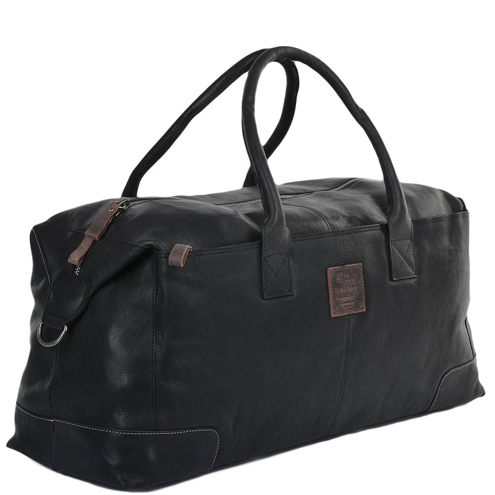 Mens Xlarge Leather Travel Holdall Black 4556 Mens
