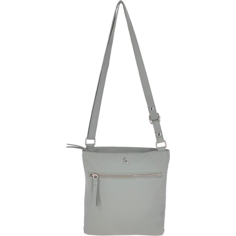 5c314f182a6 Zip Top Leather Cross Body Bag Aqua : Ela 1711 - Handbags from ...