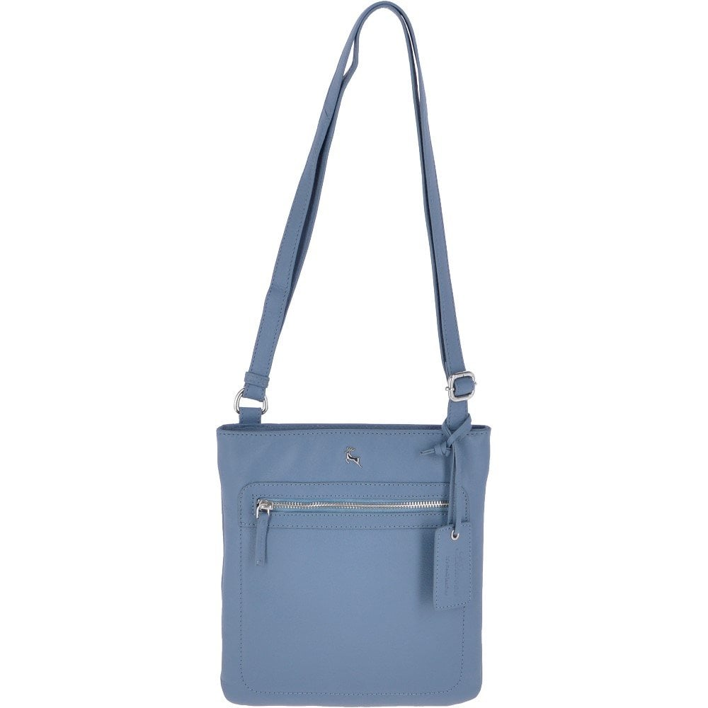b44f9f959be84 Zip Top Leather Cross Body Bag Navy Denim : 61356 - Handbags from Leather  Company UK