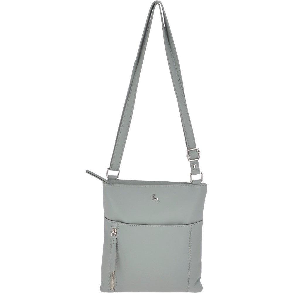 3fb53e4ec77 ASHWOOD Zip Top Leather Cross Body Bag With External Slip Pocket Lavender  Aqua: Ela 1714