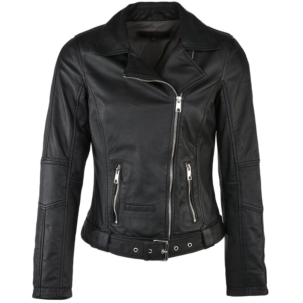 Belted Biker Jacket Black : Brielle