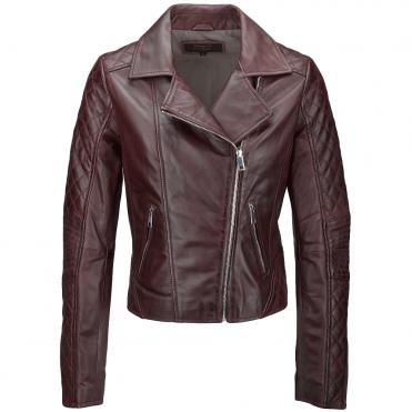 b5ef17fb8a69 Leather Biker Jacket Burgundy   Cora