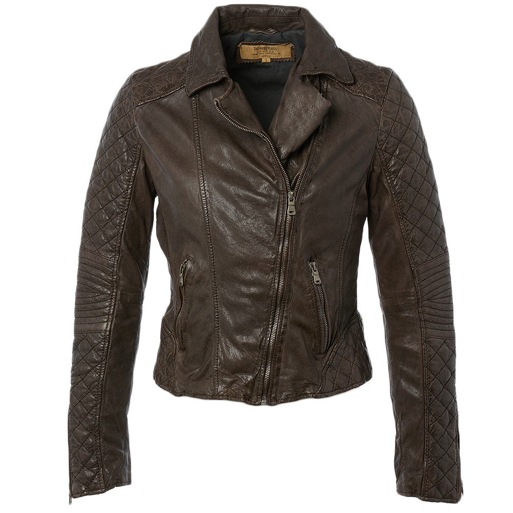 Dark brown leather jacket women