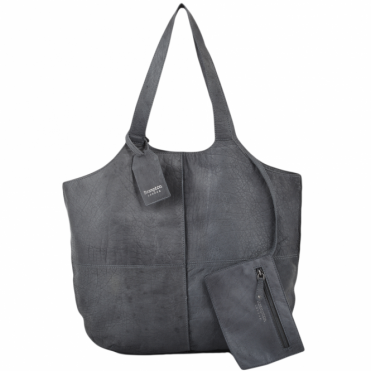Leather Shopper Bag With Purse Grey : BRM-06
