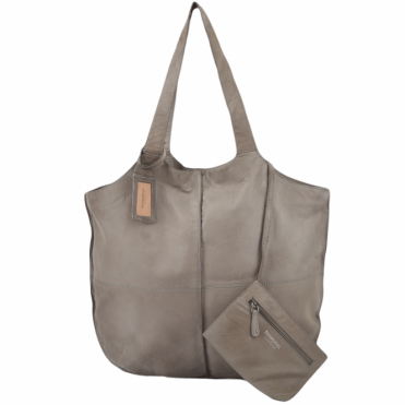 Leather Shopper Bag With Purse Olive : BRM-06