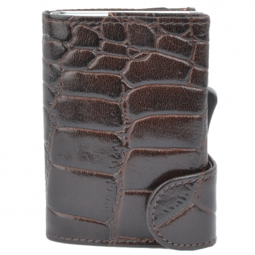 Leather CAB-Secure Wallet Brown : POH-1152 CROC