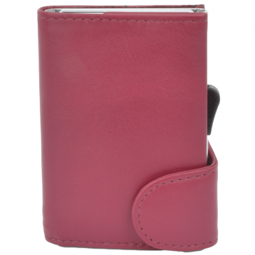 Leather CAB-Secure Wallet Cerise : POH-1152 VINT
