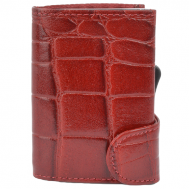 Leather CAB-Secure Wallet Red : POH-1152 CROC