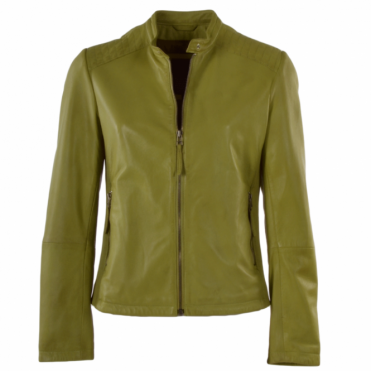 Ladies Leather Biker Jacket Chartreuse Green :  Charlotte