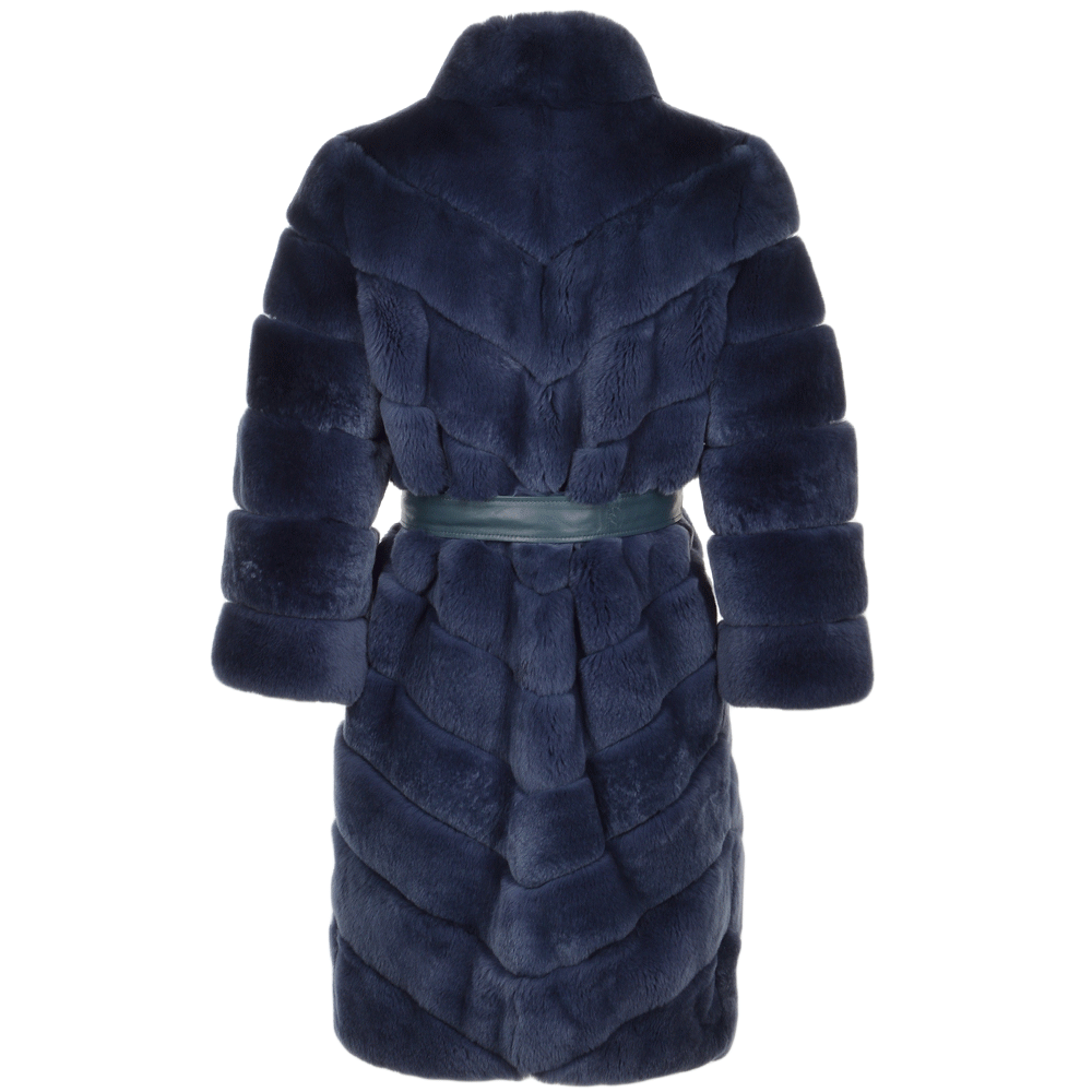 Estimo Belted Rex Rabbit 3 4 Sleeve Fur Coat Blue Montana