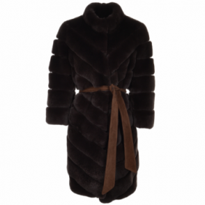 Belted Rex Rabbit Fur Coat Brown : Montana