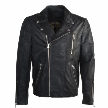 Classic Vintage White Powder Effect Motorcycle Jacket Black : Diablo