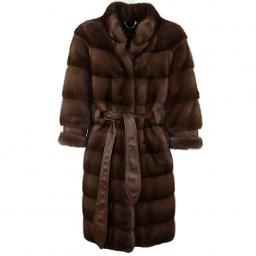 Cropped 3/4 Sleeve Mink Coat Brown : Tiffany