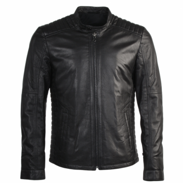 Full Grain Leather Biker Jacket Syh Jumbo Black : Lambros