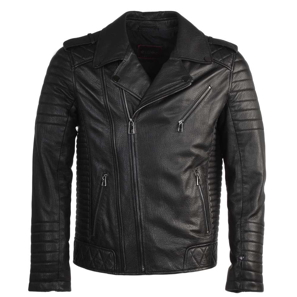 8c36f45c8a160 Mens Full Grain Leather Biker Jacket Syh Jumbo Black : Valentino