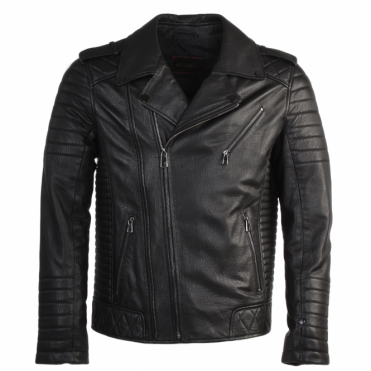 Full Grain Leather Biker Jacket Syh Jumbo Black : Valentino