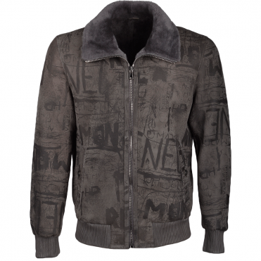 Graffiti Sheepskin Pilot Bomber Jacket Grey : Beeston