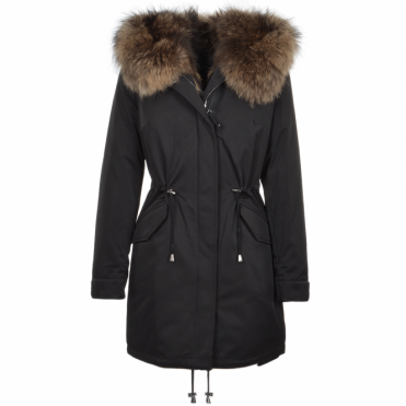 Hooded Fox Fur Parka With Detachable Raccoon Fur Trim Lining Black : Braemar