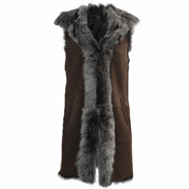 Hooded Long Suede Toscana Gilet Brown : Mariana